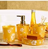 Sweet Orange 4 Piece Bath Ensemble with Diamond , Acrylic Bathroom Accessory Set With Soap Dish, Lotion Dispenser, Toothbrush Holder & Tumbler