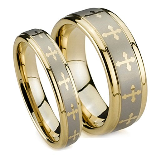 Matching Wedding Band Set, Gold Plated Tungsten Rings, High Polish with Crosses, His 8MM (Size 8-14), Her 5MM (Size 5-8) Half Sizes