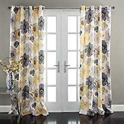 "Lush Decor Leah Window Curtain Panel (Set of 2), 84"" x 52"", Yellow/Gray"