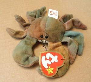 TY Teenie Beanie Babies Claude the Crab Stuffed Animal Plush Toy - 4 inches long - In original plastic bag
