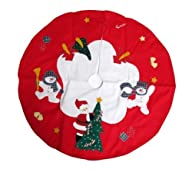 Santa and Frosty Friends Christmas Tree Skirt 36″