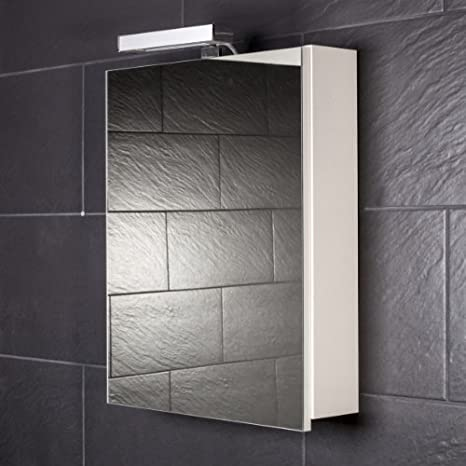 Galdem Start 50 Mirrored Bathroom Cabinet with 1 Door/Halogen Lighting/Soft Close Function/Plug Socket/Also Suitable for Hallways 50 cm