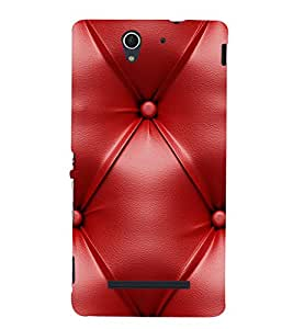 Red Leather Pattern 3D Hard Polycarbonate Designer Back Case Cover for Sony Xperia C3 Dual :: Sony Xperia C3 Dual D2502
