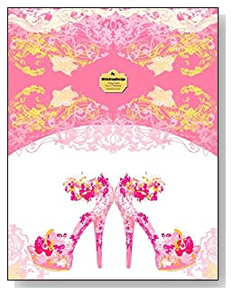 Pink Stiletto Heels Notebook - A pair of fancy pink stiletto heeled shoes bring class and dress up the cover of this college ruled notebook.