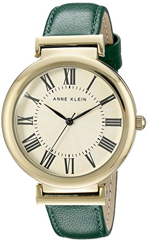 Anne klein women 39 s ak 2136crgn gold tone and green leather strap watch b00zcdhlaw amazon for Anne klein gold watch