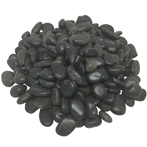 Decorative Rocks, 5 lbs Polished River Rocks, Pebbles In net Bag by Royal Imports for Aquariums, Vase Fillers, Landscaping and Home Decor - Black