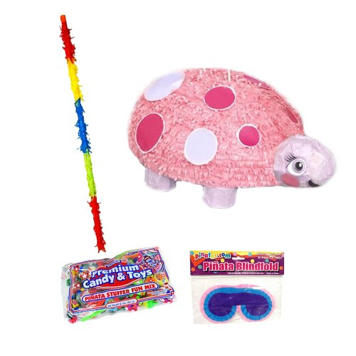 Pink Ladybug Pinata Party Kit - Includes Pinata, 2Lb Filler, Buster Stick And Blindfold