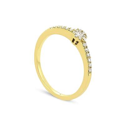 Tous mes bijoux Women 9 k (375) Yellow Gold Round Diamond Rings