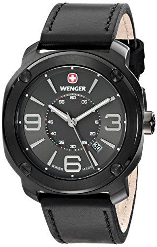 wenger 011051108 - Reloj de pulsera hombre, piel, color negro