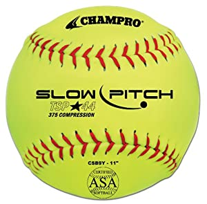 Buy Champro ASA Tournament Slow Pitch Leather Cover, Red Stiches (Optic Yellow, 11-Inch) by Champro