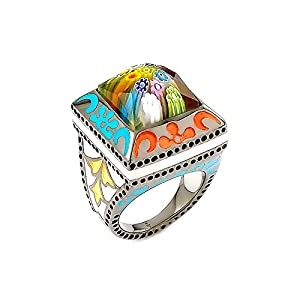 Exquisite Collection Faceted Multi Color Murano Glass Square Ring, Size 6