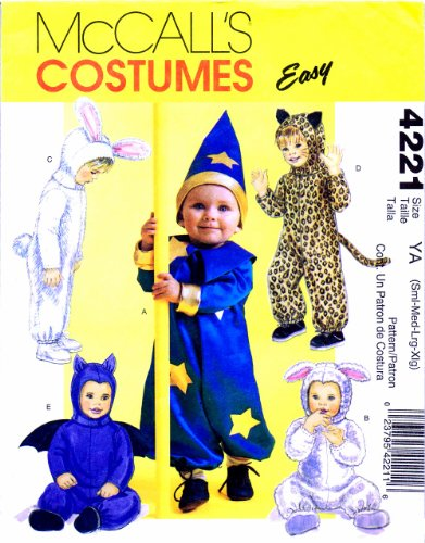 Mccall'S 4221 Sewing Pattern Infants Sorcerer Lamb Bunny Cat Bat Costumes Small - Extra Large front-888962