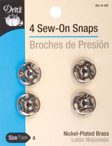 Cheapest Prices! Dritz Sew-On Snaps Nickel Size 4