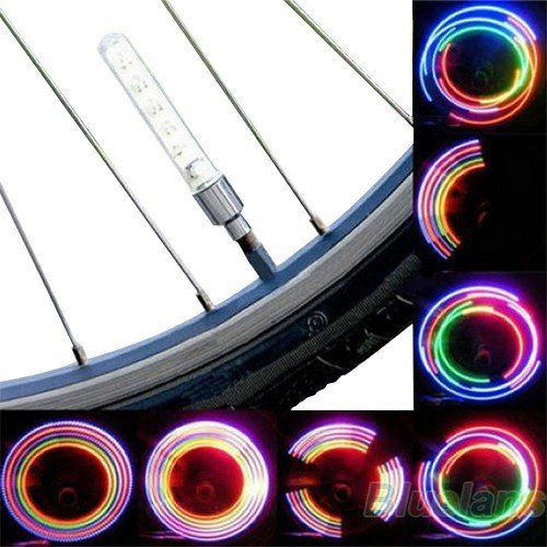 2 X Bike Bicycle Wheel Tire Valve Cap Spoke Neon 5 Led Light Lamp Accessories