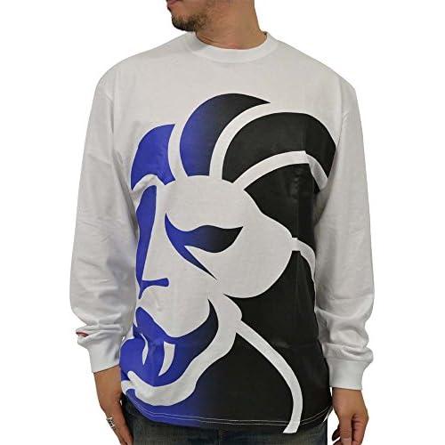 (ネスタブランド) NESTA BRAND 大きいサイズ Tシャツ メンズ 長袖 プリント 柄 ストリート グラデーション ライオン 柄 4color LL ホワイト