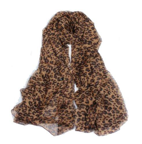 Sacas Fashion Leopard Animal Print Scarf Shawl Warp In Dark Brown