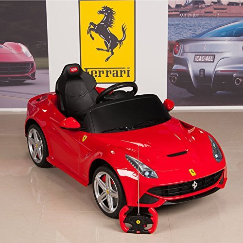 12V Ferrari F12 Kids Ride On Car with Remote, Mat and Keychain, Red