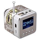 SpeedControl Exquisite MP3/4 Mini Digital Portable Music Player Micro SD/TF USB Disk Speaker FM Radio (Silver)