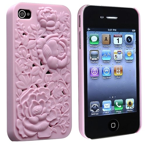 eForCity Snap-on Case compatible with Apple? iPhone? 4/ 4S, Light Pink 3D Sculpture Rose Rear