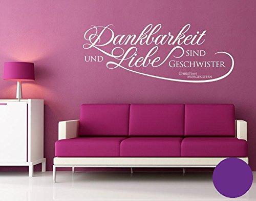 wandtattoo dankbarkeit und liebe b x h 60cm x 23cm farbe violett erh ltlich in 35 farben und. Black Bedroom Furniture Sets. Home Design Ideas