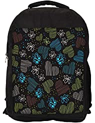 """Snoogg Blue Heart And Butterfly Casual Laptop Backpak Fits All 15 - 15.6"""" Inch Laptops"""