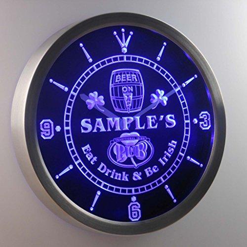 Ncpa-Tm Irish Pub Shamrock Personalized Your Name Bar Pub Sign Neon Led Wall Clock