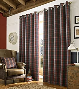 "Tartan Check Denim Blue Red Woven Lined 46"" X 90"" - 117cm X 229cm Ring Top Curtains from Curtains"