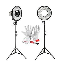 Pergear DVR-300DVC 300 LED Ring Light 3000K-7000K Color Temperature Ajustable with 6.5ft Mini Studio Light Stand