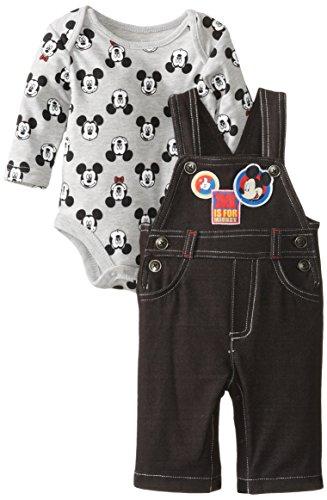 Disney Baby Baby-Boys 2 Piece Knit Overall Set, Black Denim, 6/9 Months front-1044760