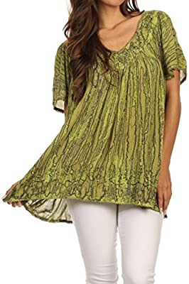 Sakkas Elaine Embroidered Batik Scoop Neck Relaxed Fit Flutter Sleeve Blouse