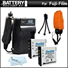 2 Pack Battery And Charger Kit For Fuji Fujifilm FinePix XP200, XP170, XP150, XP100 Waterproof Digital Camera Includes 2 Extended Replacement (1100Mah) NP-50 Batteries + Ac/Dc Rapid Travel Charger + Floating Strap + Mini Tabletop Tripod + MicroFibe Cloth