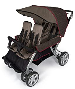Foundations Quad Lx 4-Passenger Stroller, Earthscape, Taupe/Red