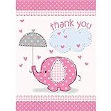Umbrella Elephant Girl Baby Shower Thank You Notes w/ Envelopes (8ct)