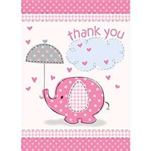 Umbrella Elephant Girl Baby Shower Thank You Notes w/ Envelopes (8ct)