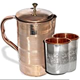 AsiaCraft Elegant Pure Copper Jug With Lid With Set Of 2 Embossed Tumblers