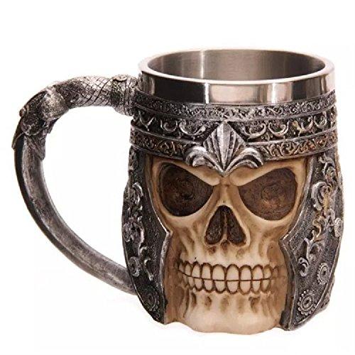 XJoel Caffè in acciaio inox 3D cranio tazza creativa acciaio inossidabile bere Horror Skull Tazza Osario rivestimento in resina tazza cranio decorazione 3D Tankard