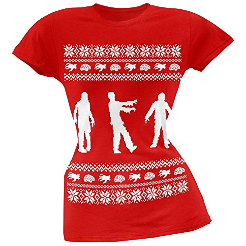 Zombie Ugly Christmas Sweater Red Soft Juniors T-Shirt - 2X-Large