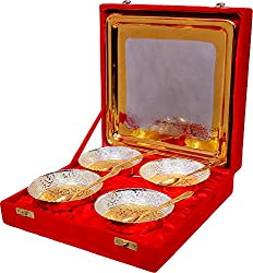Jaipur Ace Metal Snack Bowls, 9-Pieces, Gold