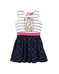 Barbie Baby Girls' Dress (DRSFA161187001_Optic White and Indigo Blue_12 - 18 Months)