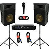"Podium Pro 12"" Speakers 2 Way Pro Audio Monitors, Stands, Amp, Cables and Mic Set for PA DJ Home or Karaoke PPT12CSET"