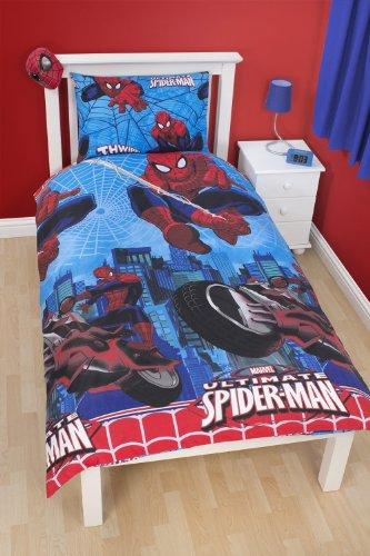 parure housse de couette ultimate spiderman city linge de maison lit 1 personne 140 x 200 1. Black Bedroom Furniture Sets. Home Design Ideas