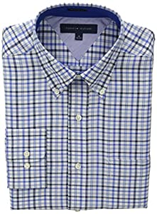 Tommy Hilfiger Men's Regular Fit Blue Multi Check, Blue/Multi, 15.5 34/35