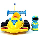 "4"" Cartoon Remote Control R/C Formula Race Car Toy For Toddlers Yellow"