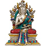 Exotic India Lord Buddha Seated On Six-ornament Throne Of Enlightenment - Brass Statue With Inlay