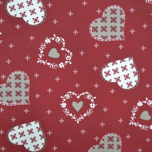 Authentic French Christmas Fabric (Alpine) | Red Hearts & Snowflakes Cotton Print - Extra Wide Fabric 63 Inches (160Cm) Wide ~ Sold By The Yard