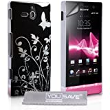 Sony Xperia U Tasche Blumen Schmetterling Harte Hülle - Schwarz / Silber