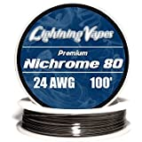 Genuine Lightning Vapes Nichrome 24 Gauge AWG Wire 100ft Series 80 Roll 0.51 mm , 1.64 Ohms/ft Resistance