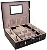 BlushBees Two Layer Leather Jewelry Watch Storage Box Organizer with Lock