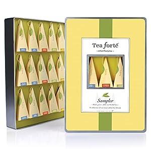 Tea Forte Large Tin Sampler Gift Assortment with 15 Handcrafted Pyramid Tea Infusers - Black Tea, Green Tea, White Tea, Herbal Tea
