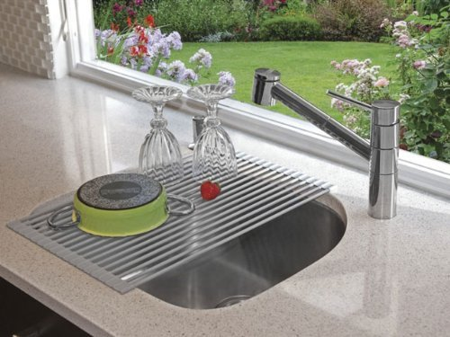 Roll-up Multi-purpose Drying Rack Silicone Coated Tough Stainless Steel Over Sink Rack Grey - 20.5